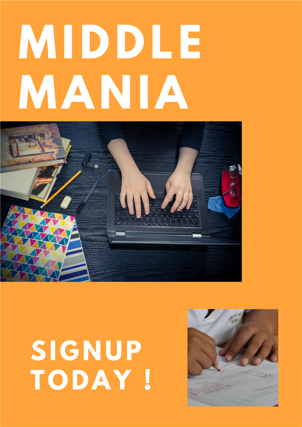 Middle Mania - Afterschool homework help, tutoring, and exciting teams: Chorus,Sports ,Reading, Maker Spaces 3 D, and English Language Learners