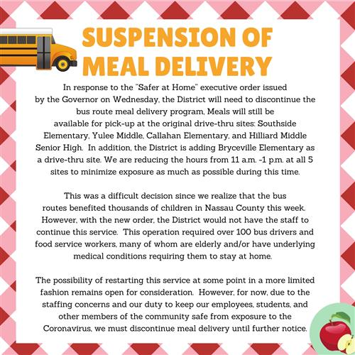 Suspension of Meal Delivery