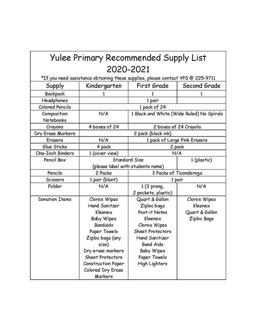 2020-2021 Supply List