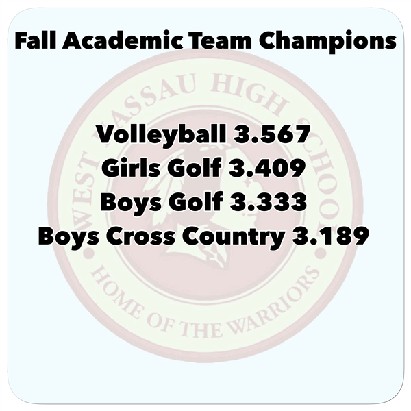 Fall Academic Team Champions