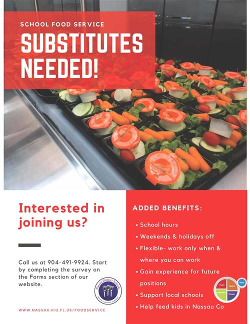 Substitute Food Service Workers Needed