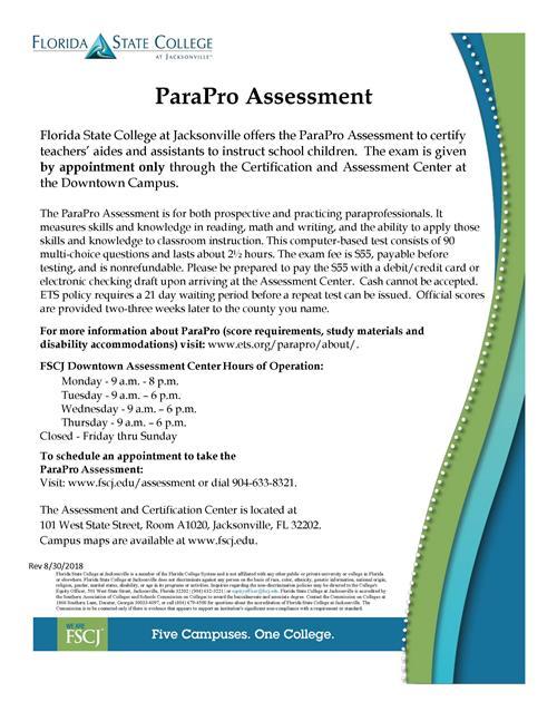 FSCJ ParaPro Assessment Flyer
